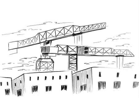 Ink sketch of a building cranes