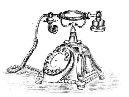 Vintage phone ink drawing