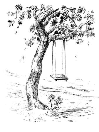 Beautiful tree ink drawing Banque d'images