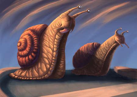 The snail race digital illustration Banque d'images