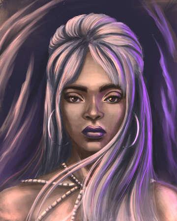 Fantasy beautiful woman digital illustration Banque d'images