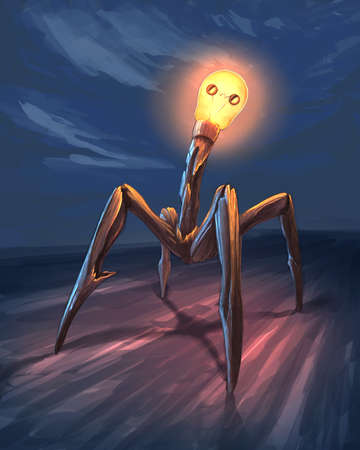 light bulb creature digital illustration Banque d'images