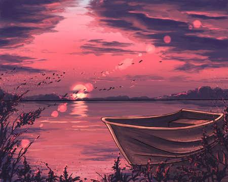 illustration of a boat at sunset Banque d'images