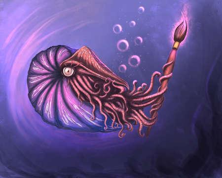 Fantasy nautilus pompilius digital illustration