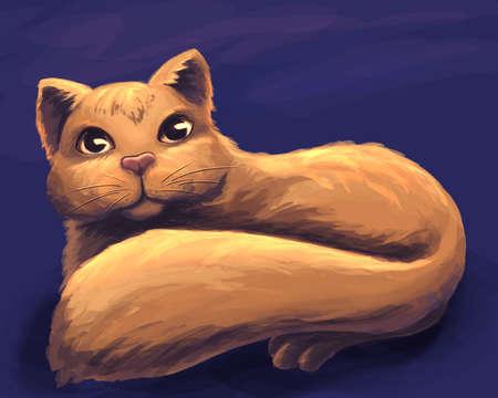 The orange cat digital illustration