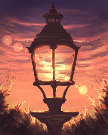 lantern at sunset digital illustration Banque d'images