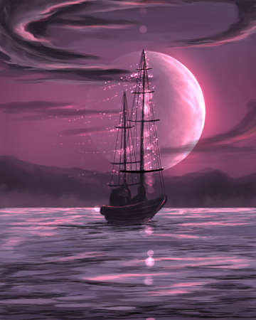 ship in the sea under moon