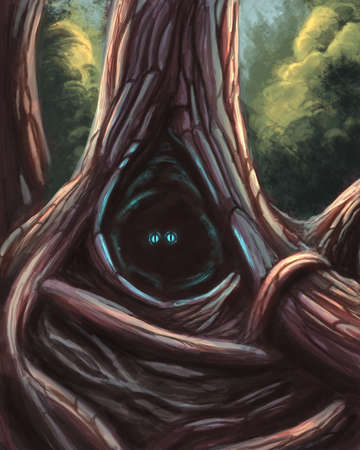 Eyes in the tree hollow