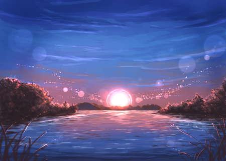 Fantasy sun light digital illustration Banque d'images