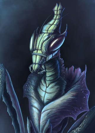 Fantasy mantis looking like an alien