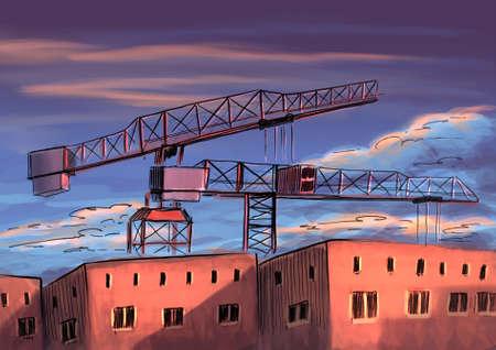 The construction crane digital illustration