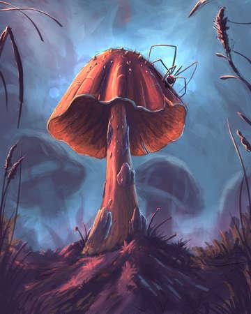 The fantasy mushroom digital illustration Banque d'images