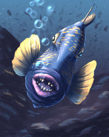 Blue fish with pink lips underwater Banque d'images