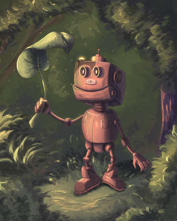 Cute little robot in the forest Banque d'images