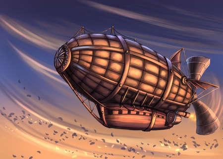 Fantasy airship in the sky