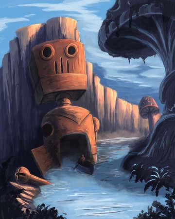 Huge robot in the river Banque d'images