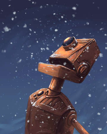 Robot and the snow flakes Banque d'images