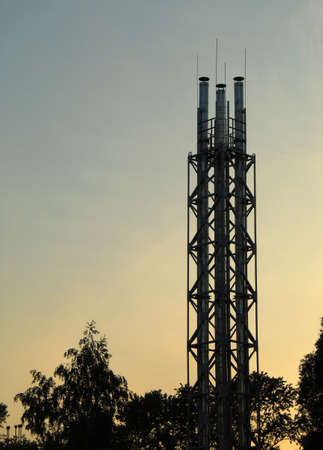 high voltage tower in the evening