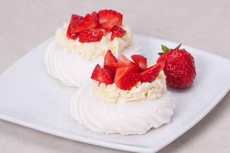 Strawberry Meringues Dessert Pavlova photo