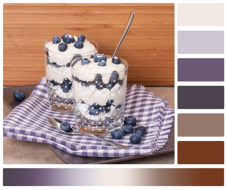 complimentary: Blueberry Dessert With Cream And Meringues. Palette With Complimentary Colour Swatches  Stock Photo