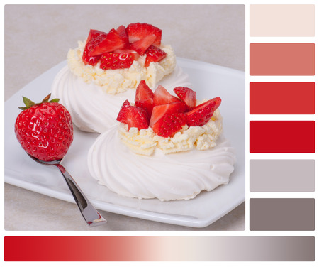 complimentary: Strawberry Meringues Dessert Pavlova. Palette With Complimentary Colour Swatches
