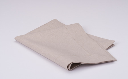 Natural Linen Napkin On White Background Imagens