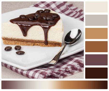 paleta de caramelo: Pastel de queso con salsa de chocolate en la placa blanca. Paleta Con cortesía Color Muestras