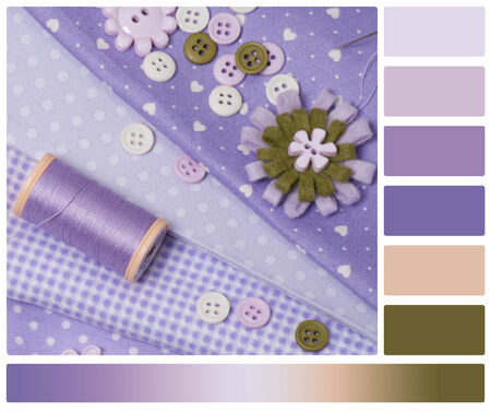 Tailoring Hobby Accessories. Sewing Craft Kit. Palette With Complimentary Colour Swatches  photo