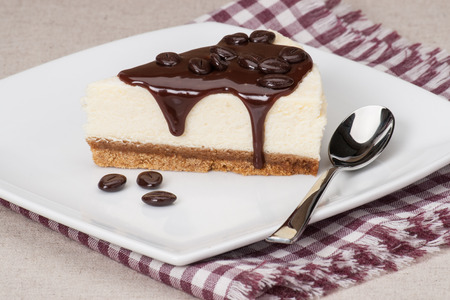 Cheese Cake With Chocolate Sauce On White Plate photo