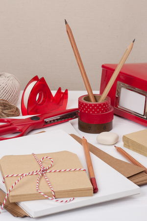 Assorted Stationery Items On Desk photo