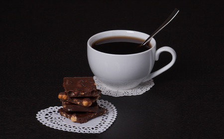 Chocolate, Black Coffee In White Cup photo