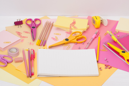 Assorted Stationery Items On A Desk photo