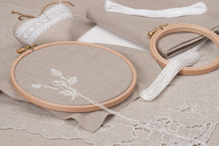 Sewing And Embroidery Craft Kit. Natural Linen Background photo