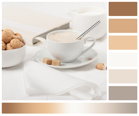 complimentary: Amaretti Biscuits. Cup Of Cappuccino Coffee. Lump Demerara Sugar. Book With Handmade Textile Cover. Palette With Complimentary Colour Swatches.