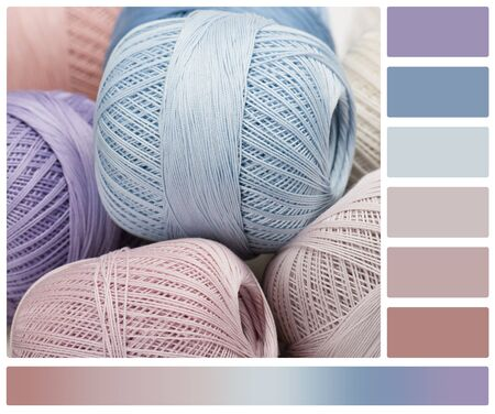 complimentary: Pile Of Cotton Crocheting Thread Bobbins. Palette With Complimentary Colour Swatches. Stock Photo