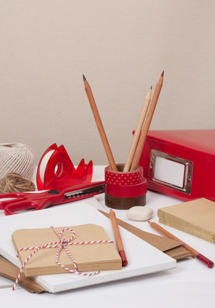 stationery items: Assorted Stationery Items On Desk Stock Photo
