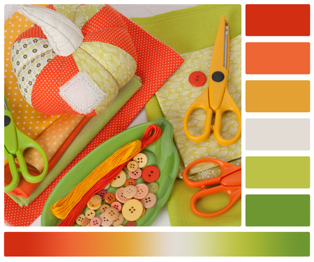swatches: Handmade Pumpkin. Tailoring Hobby Accessories. Palette With Complimentary Colour Swatches. Stock Photo