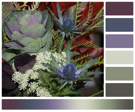 complimentary: Assorted Flowers Bouquet. Palette With Complimentary Colour Swatches.