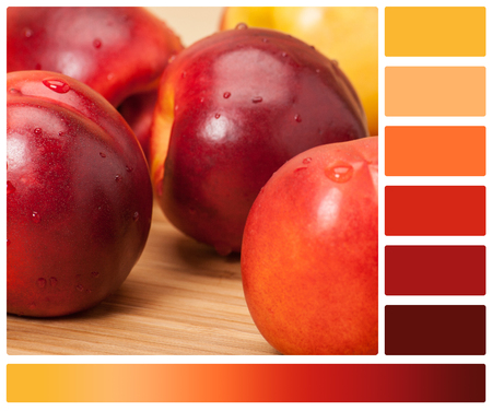 complimentary: Fresh Nectarine Fruits On Wooden Board. Natural Linen Napkin. Palette With Complimentary Colour Swatches.
