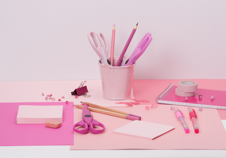 stationery items: Assorted Stationery Items On A Desk