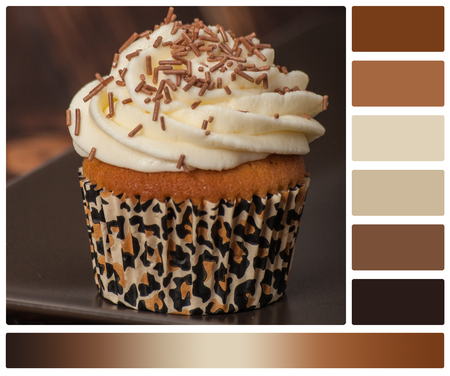 swatches: Cupcake With Cream And Sprinkles. Palette With Complimentary Colour Swatches. Stock Photo