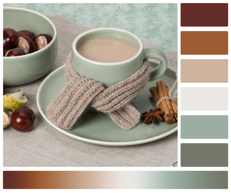autumn colour: Autumn Concept. Cup Of Hot Tea With Sweets. Yarn Knitting. Chestnuts. Palette With Complimentary Colour Swatches.