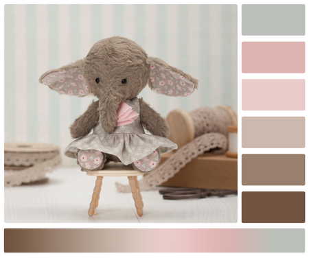 swatches: Handmade Elephant Soft Toy. Traditional Teddy Style. Palette With Complimentary Colour Swatches.