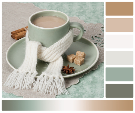 warm color: Autumn Concept. Cup Of Hot Tea With Sweets. Yarn Knitting. Palette With Complimentary Colour Swatches.