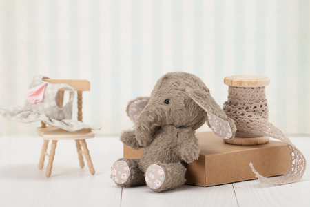 Handmade Elephant Soft Toy. Traditional Teddy Style.