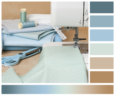 complimentary: Sewing Machine. Textile. Tailoring Hobby Accessories. Palette With Complimentary Colour Swatches. Stock Photo