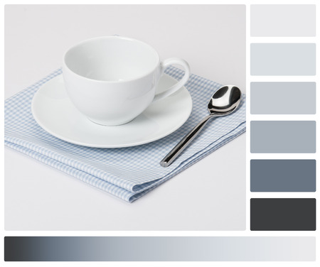 complimentary: Cup, Plate And Spoon On Folded Gingham Cotton Napkin. White Background. Palette With Complimentary Colour Swatches.