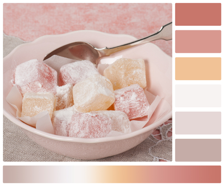 locum: Assorted Turkish Delight. Natural Linen Napkin. Palette With Complimentary Colour Swatches.