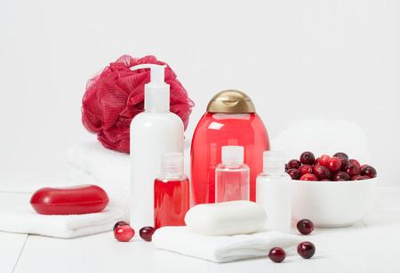 toalla: Champú, jabón de barra y líquido. Artículos de higiene, Spa Kit, Toallas. Arándanos agrios.