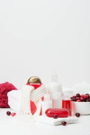 bodycare: Shampoo, Soap Bar And Liquid. Toiletries, Spa Kit, Towels. Handmade Scarf. Cranberries.